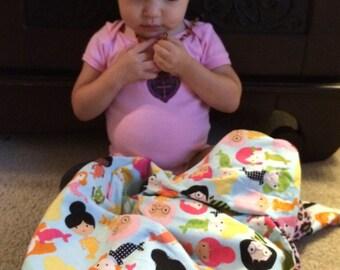 "Pink Leopard Minky & Cotton Mermaid Baby Blanket, ""Pisces Sistahs"""