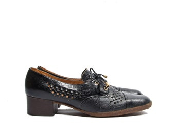 9.5 N | 70's Vintage VanEli Oxford Pumps Cap Toe Crepe Soles Black Leather & Raphia Women Shoe