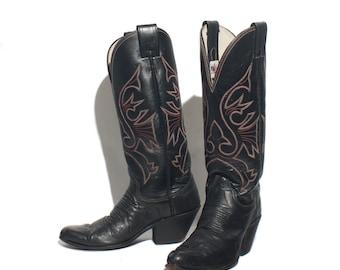 6 B | Tall Black Cowboy Boots by Olathe w/ Red Western Stitch