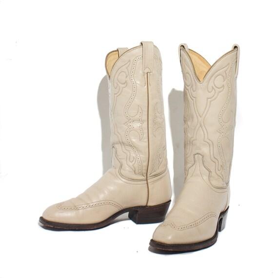 8 d j chisholm ivory color western boots brogue by shopndg