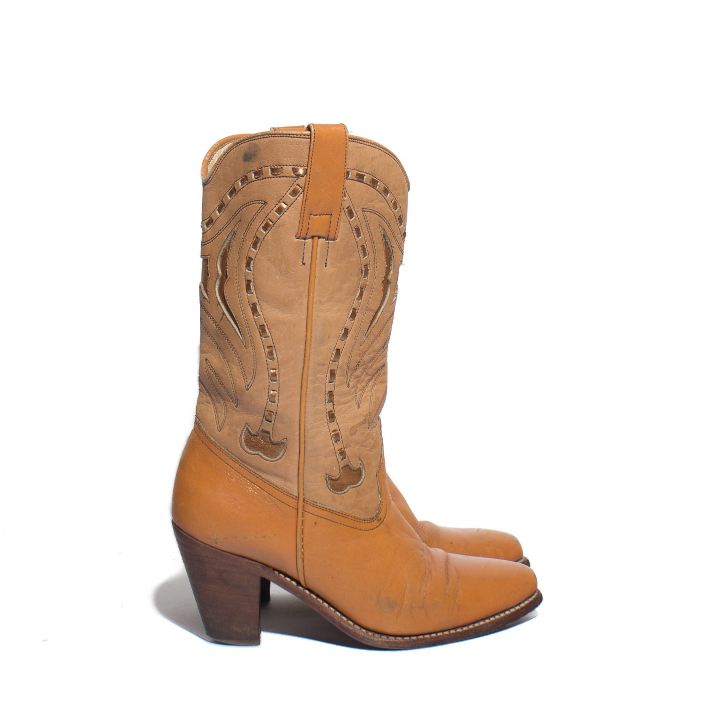 7 m s high heel boots western inlay orangish brown