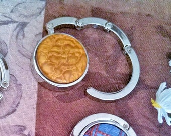 Purse Hook / Hangers - Chrome  - Yellow/Gold Hand Crafted Clay Medallion - PH-9306