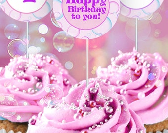 Bubbles Party Circles/Cupcake Toppers - INSTANT DOWNLOAD - Editable & Printable Birthday Decorations by Sassaby