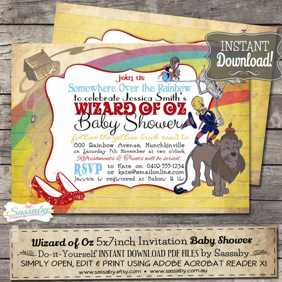 wizard of oz baby shower invitation instant download editable