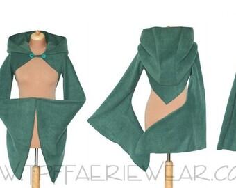Plain Fleece 'Korrigan' Shrug -Celeste hood/Sovereign sleeves