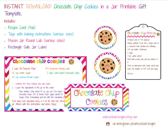This is a picture of Slobbery Chocolate Chip Cookies in a Jar Printable Tags