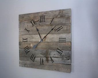 large rustic wall clock gray washed color washed wood