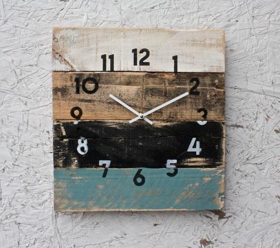 reclaimed wall clock rustic beach house decor coastal theme. Black Bedroom Furniture Sets. Home Design Ideas