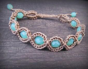 Boho Friendship Bracelet - Aqua Bracelet, Beach Bohemian Jewelry