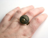 Flaming Grenade Rng French Legion Ring - made with a vintage button