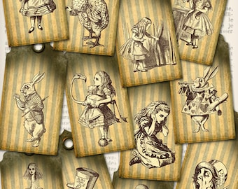 Alice in Wonderland Tags Labels instant download printable  images digital collage sheet VD0051