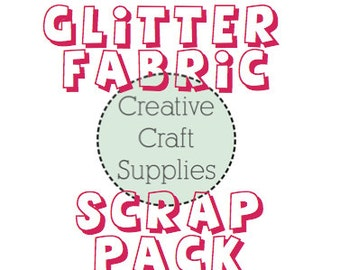 Glitter Fabric Scrap Pack - Chunky, Fine and Polka Dot Glitter Fabric