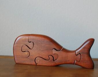 Vintage walnut handmade wood whale puzzle