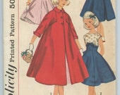 1950s Simplicity 1940 Girls Rockabilly Princess Line Party Dress and Flared Swing Coat Breast 28 Vintage Sewing Pattern