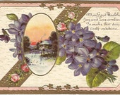 Winter Sunset Scene Cabin on Lake Pink Roses and Purple Violet Printed in Germany Vintage Postcard