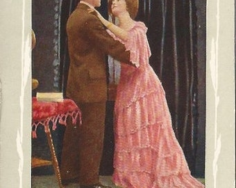 Victorian Period Woman in Pink Gown Dancing with Gentleman 1909 Vintage Postcard title Are You Sincere? Romantic