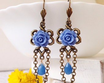 Gift for women Blue drop earrings long bohemian earrings blue chandelier earrings blue dangle earrings victorian earring celtic knot earring
