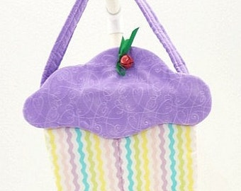 pastel rick rack purple heart frosting cupcake purse fabric gift bag cloth goodie treat bag cup221