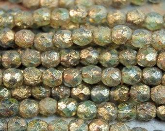 Stone Copper Picasso - Aquamarine Czech Glass Firepolished 6mm Beads -25