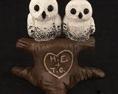 Owls in Love in a Tree Custom Wedding Cake Topper