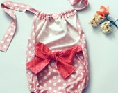 The Double Dot Girls Bow Romper Sunsuit in Pink Line and Dot