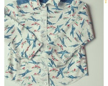 SAMPLE SALE Size 6 Boys' Button Up Collar Shirt Airplane Print Shirt Boys Plane Top Collared Shirt for Boys Airplane Print Boys Clothing