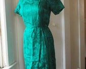 Emerald Green Silk Damask 1950s 1960s Party Dress Wiggle Dress Shift Dress