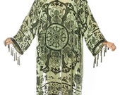 SALE 20% OFF // Gypset Medallion Velvet Burnout Beaded Fringe Tassel Kimono - Moss