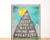 Let Her Sleep For When She Wakes She Will Move Mountains, Children's Wall Art, Nursery Decor, Illustration, Print, Girl Room Decor, LilyCole