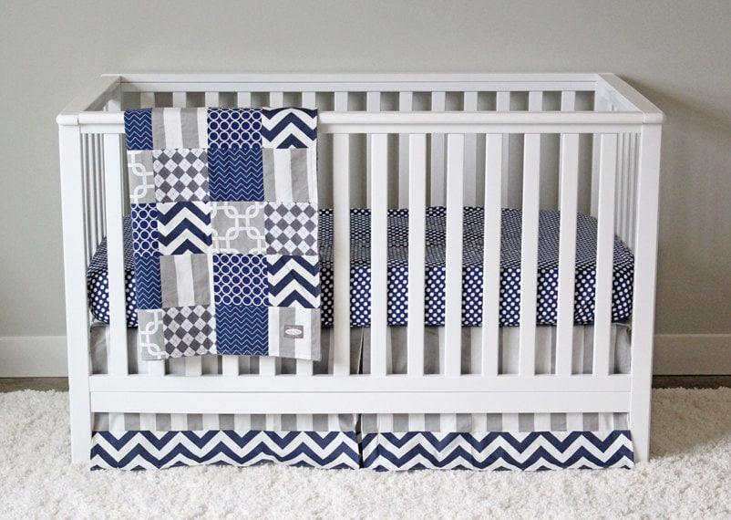 Boy Nursery Bedding Navy Blue And Grey Crib Bedding
