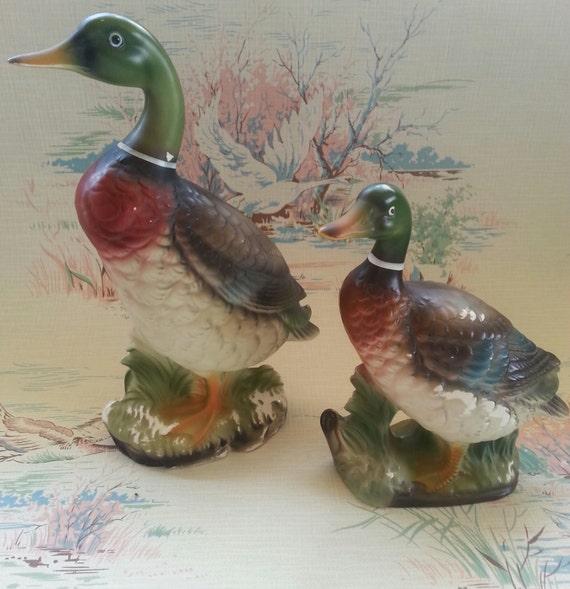 Vintage 1940s 1950s Wales Mallard Duck Figurines Pair Made In
