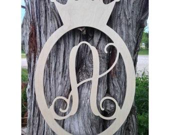 Oval Crown Border Single Vine Script Monogram Letter - 1/4 inch princess crown