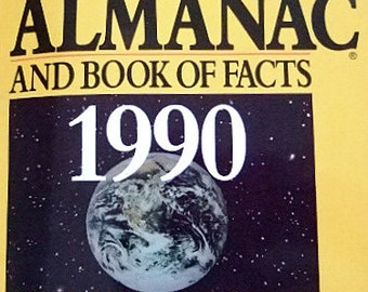 Vintage 1990 Edition of The World Almanac and Book of Facts, #1 National Bestseller, Coverage of the Year's Leading Issues, Gift for Him