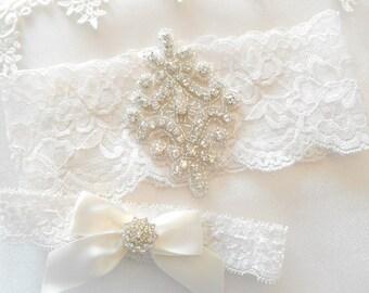 Wedding Garter Set Ivory or White Stretch Lace Bridal Garter Set With Beautiful Rhinestone Setting Garter Set.