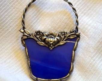 Easter Basket (Cobalt Blue) Stained Glass Pin / Brooch