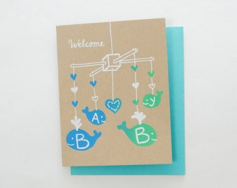 Welcome Baby - new baby screen print card