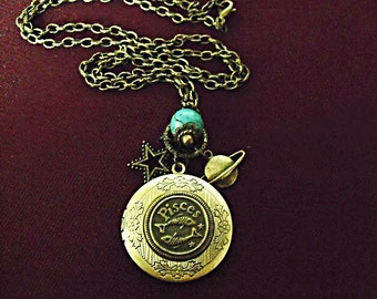 Bronze Locket Necklace,    Zodiac Pisces Symbol, With Turquoise Bead And Charm Womens Gift Handmade