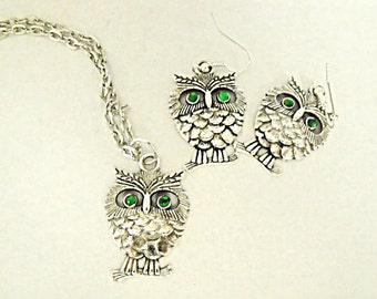 Silver Pendant Necklace,  Owl Necklace and Earring Set With Emerald Green Rhinestone Eyes Womens Gift  Handmade