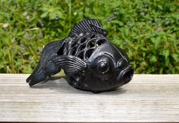 Cast iron black koi fish vintage candle holder hanging garden for Koi fish home decor