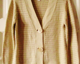 Talbots Cotton Cardigan Sweater, PM, M, Made in Italy