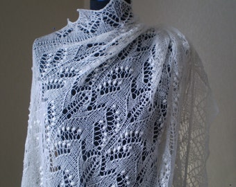 Hand knitted Wedding Shawl, traditional Estonian lace, heirloom, Haapsalu shawl with nupps, soft cobweb merino MADE TO ORDER