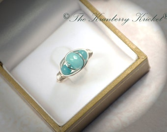 Amazonite Ring, Blue Boho Ring, Bohemian Ring, Trinity Ring, 3 Stone Ring, Throat Chakra Ring, Reiki Healing, Matching Rings, Custom Sized