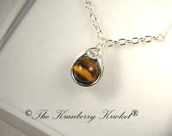 Golden Tiger Eye Necklace, Cats Eye Gemstone Necklace