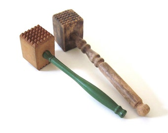 Wood Meat Tenderizers Primitive Kitchen Utensils Green Wooden Handle Wood Mallets Food Photography Props