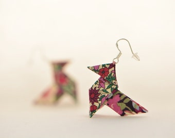 Floral plum Liberty origami earrings - sterling silver hooks