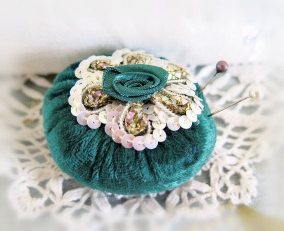 Pincushion Pin Keeper MINI Pinnie 2 inch FOREST Green Velvet Puff  Pincushion Handmade CharlotteStyle Sewing Needlecraft