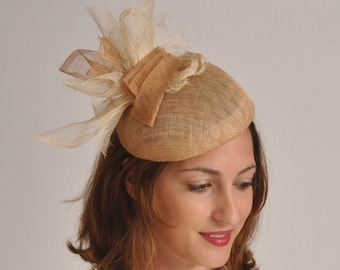 summer cocktail hat , natural occasion hat / Kate Middleton statement hat / Ascot hat / dressy Derby hat