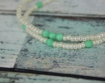 Pearl/Mint Beaded Bracelets