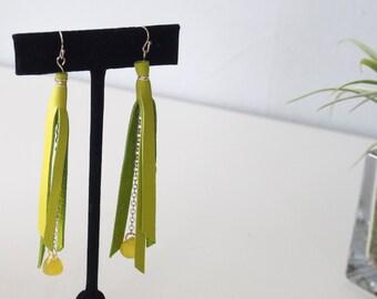 Spring Green Leather Dangle Earrings//Peridot//Fringe Earring