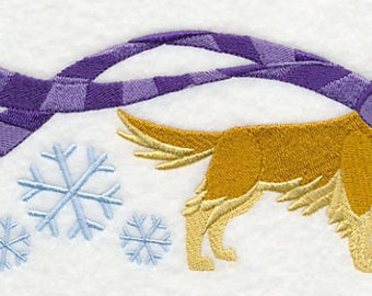 Wrapped Up in Winter Golden Retriever Embossed Style Embroidered Flour Sack Hand/Dish Towel